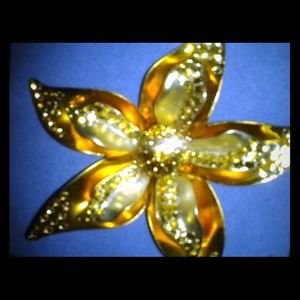 Gold & Silver Lily Pin with Clear & Amber Stones